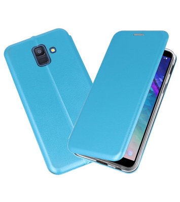 Blauw Premium Folio Booktype Hoesje voor Samsung Galaxy A6 2018