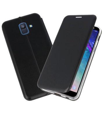 Zwart Premium Folio Booktype Hoesje voor Samsung Galaxy A6 2018