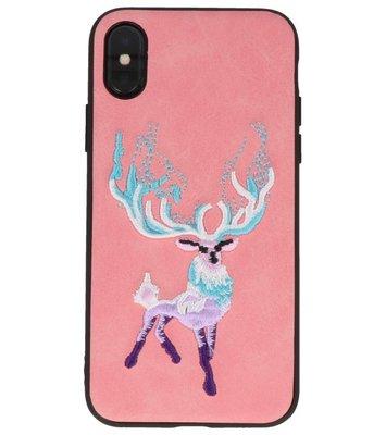 Roze Borduurwerk Hert TPU Back Cover Hoesje voor iPhone X