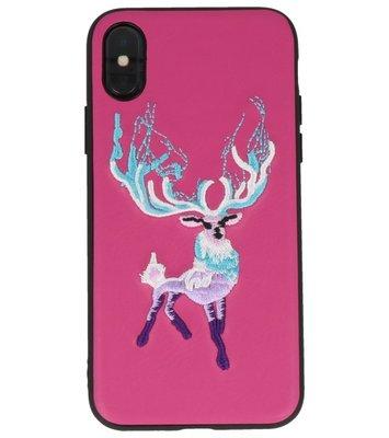 Donker Roze Borduurwerk Hert TPU Back Cover Hoesje voor iPhone X