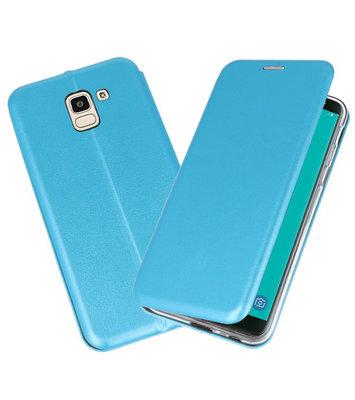 Blauw Premium Folio Booktype Hoesje voor Samsung Galaxy J6 2018