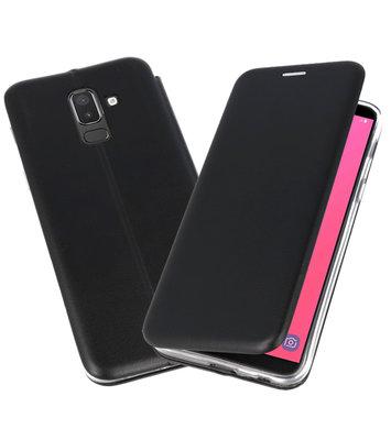 Zwart Premium Folio Booktype Hoesje voor Samsung Galaxy J8 2018