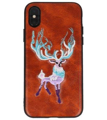 Bruin Borduurwerk Hert TPU Back Cover Hoesje voor iPhone X