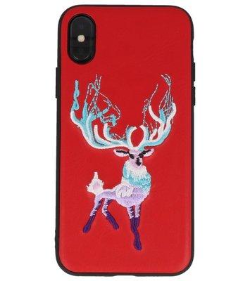 Rood Borduurwerk Hert TPU Back Cover Hoesje voor iPhone X