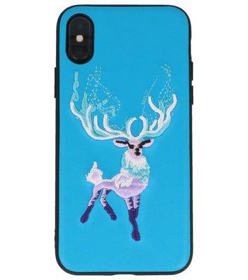 Blauw Borduurwerk Hert TPU Back Cover Hoesje voor iPhone X