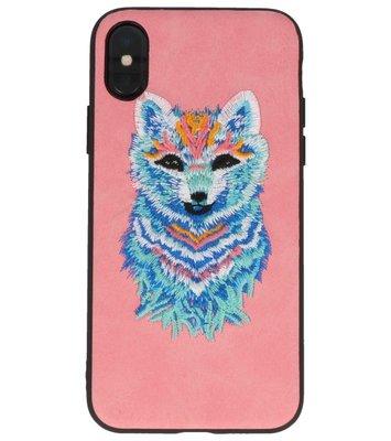 Roze Borduurwerk Wolf TPU Back Cover Hoesje voor iPhone X