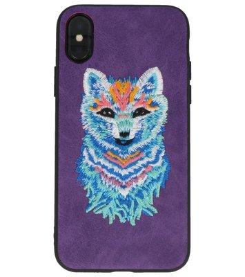 Paars Borduurwerk Wolf TPU Back Cover Hoesje voor iPhone X