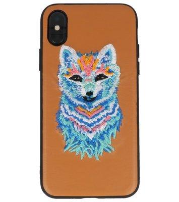 Bruin Borduurwerk Wolf TPU Back Cover Hoesje voor iPhone X