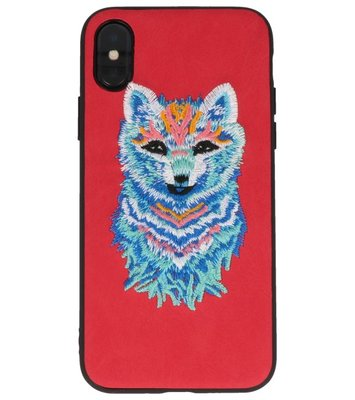Rood Borduurwerk Wolf TPU Back Cover Hoesje voor iPhone X