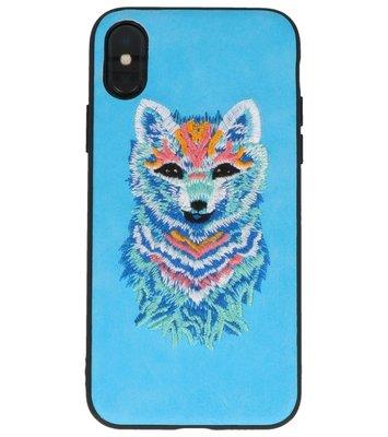 Blauw Borduurwerk Wolf TPU Back Cover Hoesje voor iPhone X
