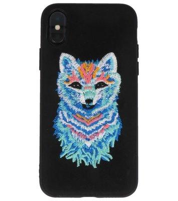 Zwart Borduurwerk Wolf TPU Back Cover Hoesje voor iPhone X