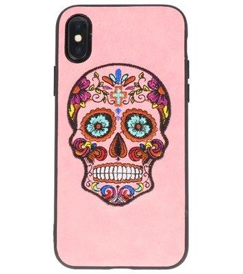 Roze Borduurwerk DoodshoofdTPU Back Cover Hoesje voor iPhone X
