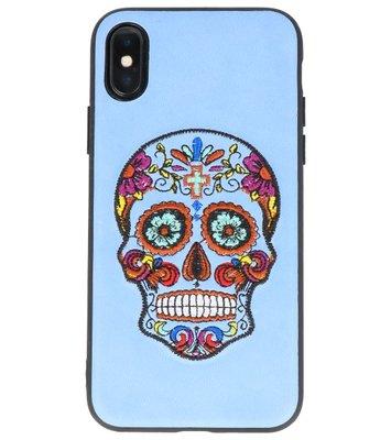 Pastel BlauwBorduurwerk DoodshoofdTPU Back Cover Hoesje voor iPhone X