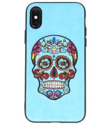 Blauw Borduurwerk DoodshoofdTPU Back Cover Hoesje voor iPhone X
