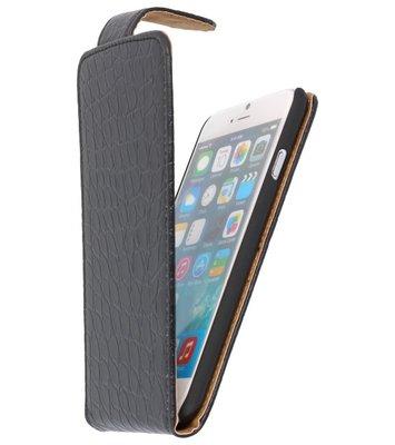 Zwart Croco Classic Flip Hoesje voor iPhone 7 / 8