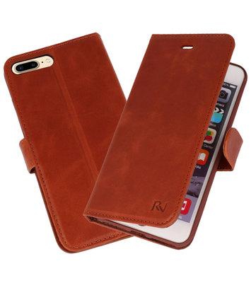 Bruin Rico Vitello Echt Leren Bookstyle Wallet Hoesje voor iPhone 7 Plus / 8 Plus