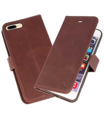 Mocca Rico Vitello Echt Leren Bookstyle Wallet Hoesje voor iPhone 7 Plus / 8 Plus