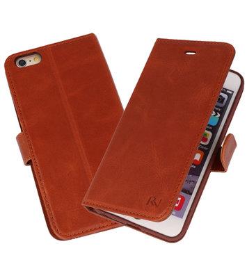Bruin Rico Vitello Echt Leren Bookstyle Wallet Hoesje voor iPhone 6Plus / 6sPlus