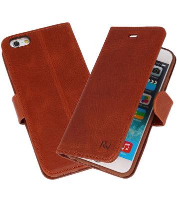 Bruin Rico Vitello Echt Leren Bookstyle Wallet Hoesje voor iPhone 6 / 6s
