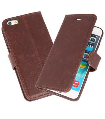 Mocca Rico Vitello Echt Leren Bookstyle Wallet Hoesje voor iPhone 6 / 6s