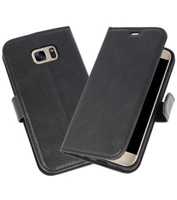 Zwart Rico Vitello Echt Leren Bookstyle Wallet Hoesje voor Samsung Galaxy S7