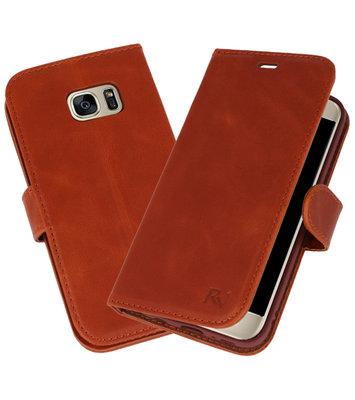 Bruin Rico Vitello Echt Leren Bookstyle Wallet Hoesje voor Samsung Galaxy S7
