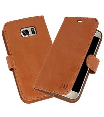 Licht Bruin Rico Vitello Echt Leren Bookstyle Wallet Hoesje voor Samsung Galaxy S7