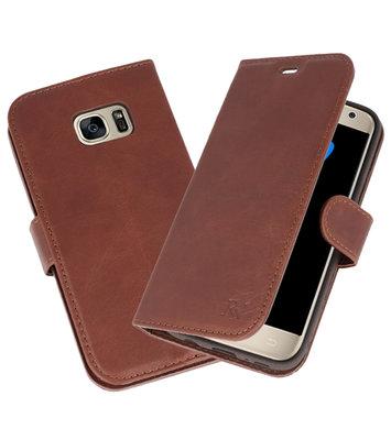 Mocca Rico Vitello Echt Leren Bookstyle Wallet Hoesje voor Samsung Galaxy S7