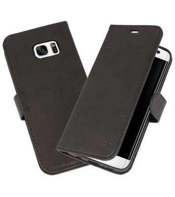 Zwart Rico Vitello Echt Leren Bookstyle Wallet Hoesje voor Samsung Galaxy S7 Edge