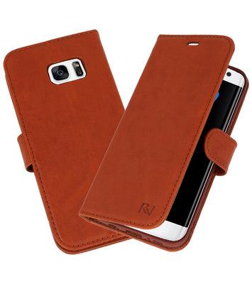Bruin Rico Vitello Echt Leren Bookstyle Wallet Hoesje voor Samsung Galaxy S7 Edge