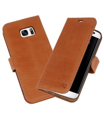 Licht Bruin Rico Vitello Echt Leren Bookstyle Wallet Hoesje voor Samsung Galaxy S7 Edge