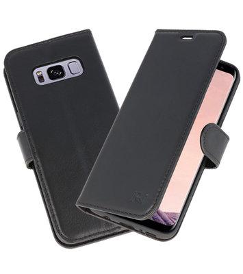Zwart Rico Vitello Echt Leren Bookstyle Wallet Hoesje voor Samsung Galaxy S8
