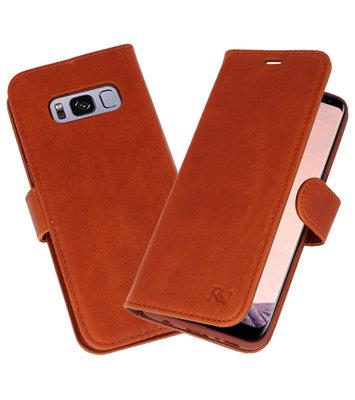 Bruin Rico Vitello Echt Leren Bookstyle Wallet Hoesje voor Samsung Galaxy S8