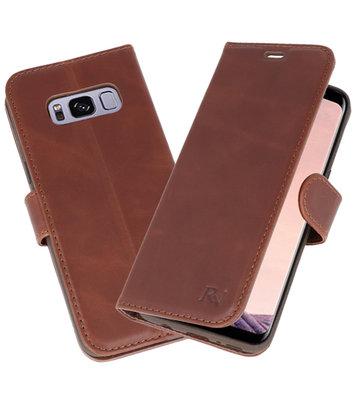 Mocca Rico Vitello Echt Leren Bookstyle Wallet Hoesje voor Samsung Galaxy S8