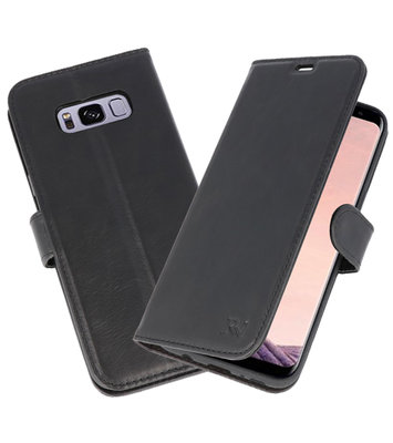 Zwart Rico Vitello Echt Leren Bookstyle Wallet Hoesje voor Samsung Galaxy S8 Plus