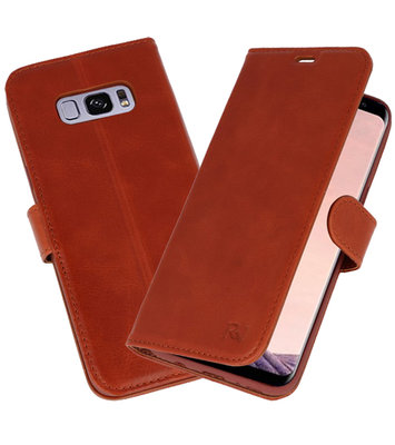 Bruin Rico Vitello Echt Leren Bookstyle Wallet Hoesje voor Samsung Galaxy S8 Plus