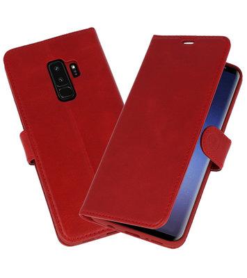 Rood Rico Vitello Echt Leren Bookstyle Wallet Hoesje voor Samsung Galaxy S9Plus