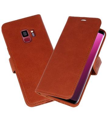 Bruin Rico Vitello Echt Leren Bookstyle Wallet Hoesje voor Samsung Galaxy S9