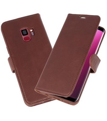 Mocca Rico Vitello Echt Leren Bookstyle Wallet Hoesje voor Samsung Galaxy S9