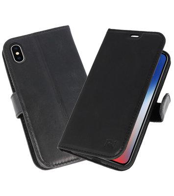 Zwart Rico Vitello Echt Leren Bookstyle Wallet Hoesje voor iPhone X