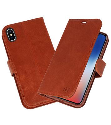 Bruin Rico Vitello Echt Leren Bookstyle Wallet Hoesje voor iPhone X