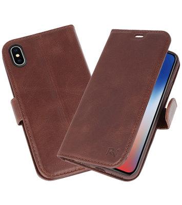 Mocca Rico Vitello Echt Leren Bookstyle Wallet Hoesje voor iPhone X