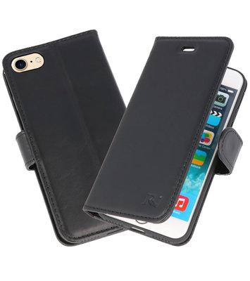 Zwart Rico Vitello Echt Leren Bookstyle Wallet Hoesje voor iPhone 7 / 8