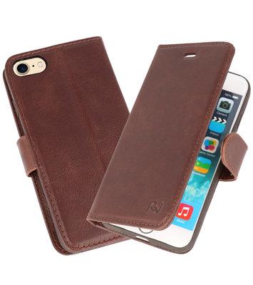 Mocca Rico Vitello Echt Leren Bookstyle Wallet Hoesje voor iPhone 7 / 8