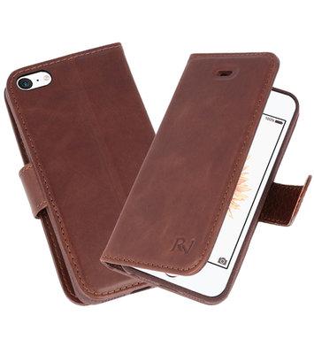 Mocca Rico Vitello Echt Leren Bookstyle Wallet Hoesje voor iPhone 5/ 5s