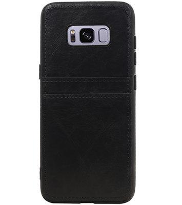 Zwart Back Cover 2 Pasjes Hoesje voor Samsung Galaxy S8