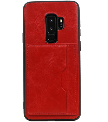 Rood Staand Back Cover 2 Pasjes Hoesje voor Samsung Galaxy S9 Plus