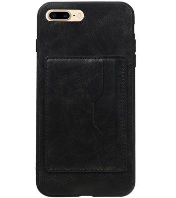 Zwart Staand Back Cover 2 Pasjes Hoesje voor iPhone 7 Plus / 8 Plus