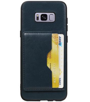 Navy Staand Back Cover 2 Pasjes hoesje voor Samsung Galaxy S8 Plus
