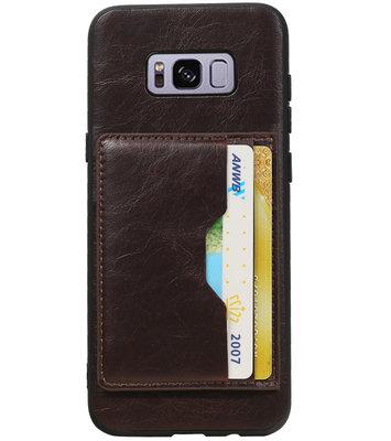 Mocca Staand Back Cover 2 Pasjes Hoesje voor Galaxy S8 Plus